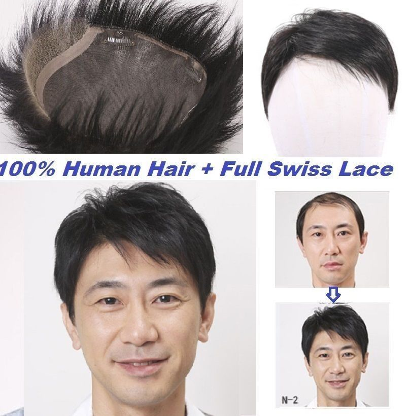 Full swiss lace 100% human hair replacement
