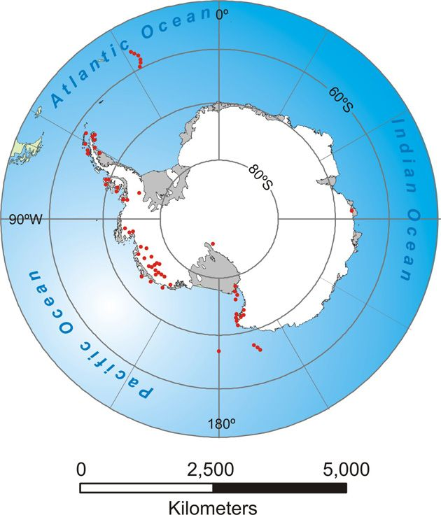 Map of Antarctica showing the distribution of volcanoes Geography