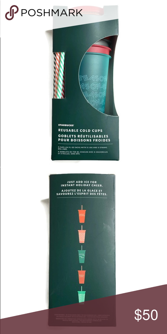 Starbucks holiday reusable cold cups with straws 5 cups