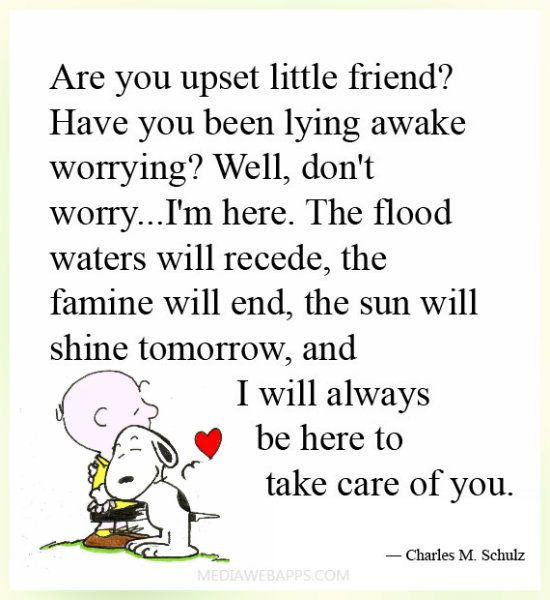 Are you upset little friend? friendship quote charlie brown friend