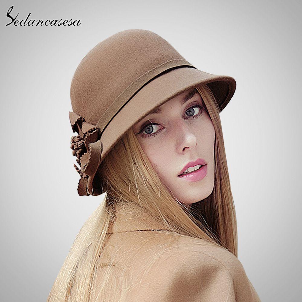 100% Wool From Australian Fedora Hat For Women Elegant Ladies Hats Green  Pink Khaki Cap Great 7fc88ef28ce5