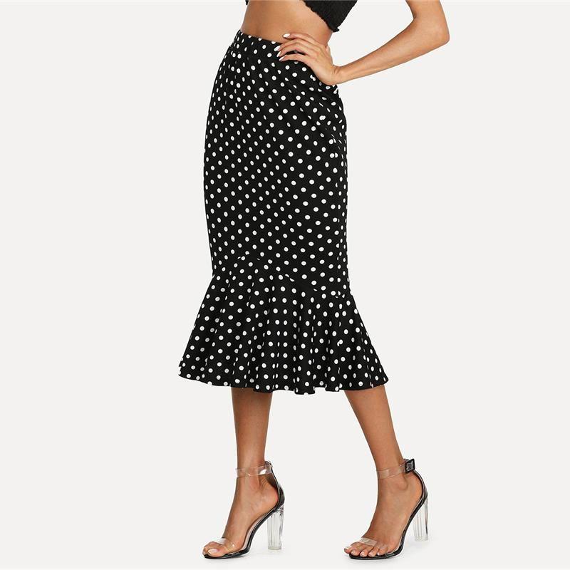 6c9197d2d99 Plus Size Black White Polka Dot Ruffle Skirt SE
