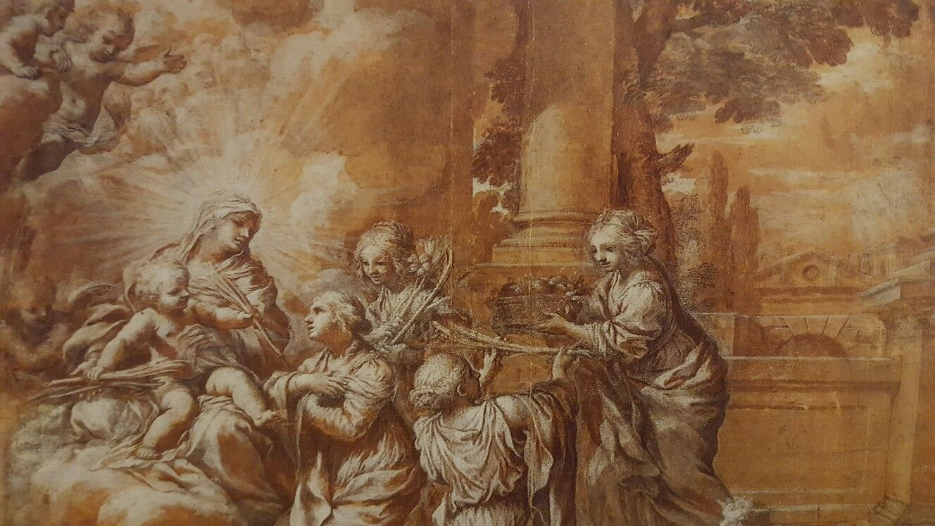 CIRO FERRI ( Rome 1634 - 1689). THE ADORATION OF THE VIRGIN AND THE CHILDREN. brush and brown ink, heightened with tempera on black chalk. 350 × 478 mm. Provenance: Francis Douce Collection; bequeathed to ashmolean in 1834.