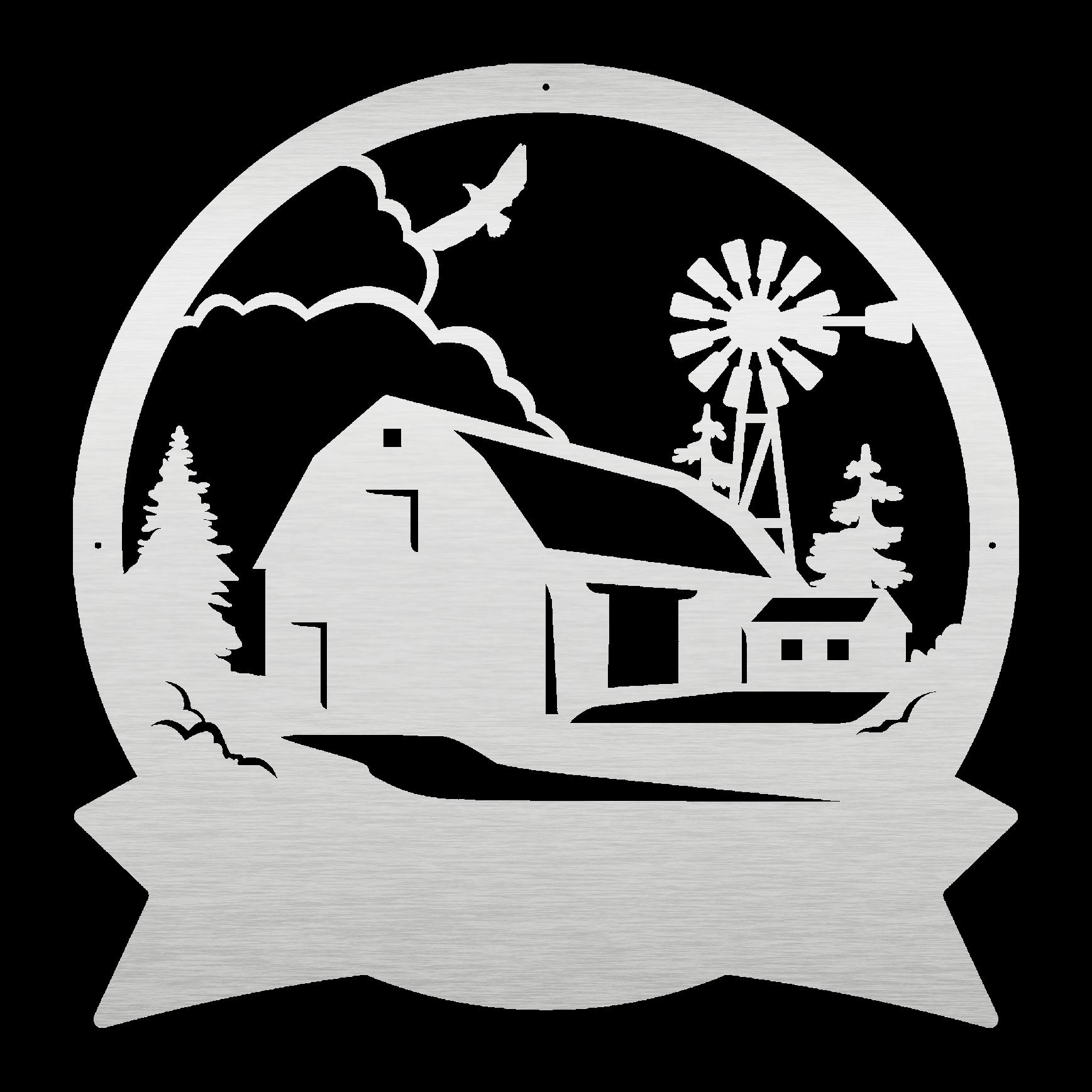 Photo of Farmhouse Scene Monogram Metal Art Wall Decor – 12 / White