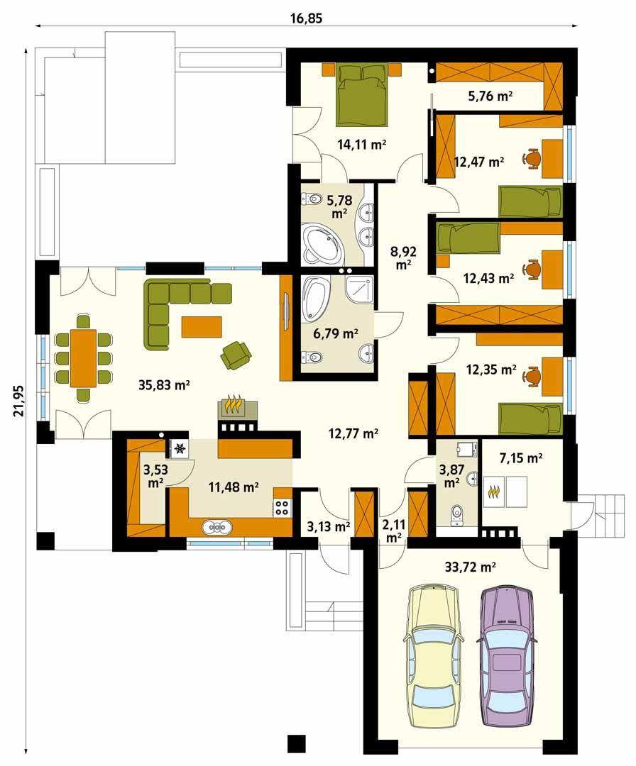 Ambrozja 3 Projekt Domu Domy W Stylu House Projects Architecture Modern House Plans Architectural Floor Plans