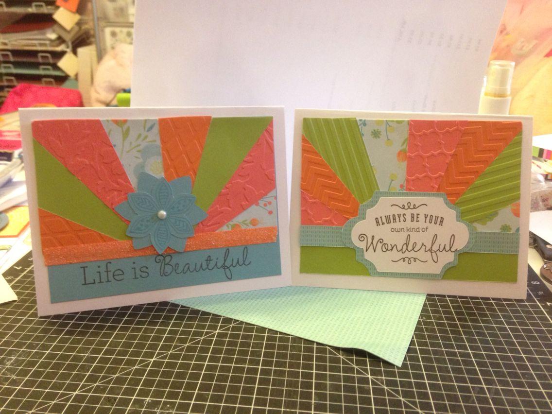 April Card Sunburst using Blossom B&T, Embossing folders, Pear, Smoothie & Sorbet Cardstock.