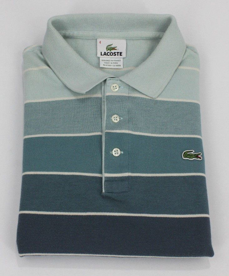 Lacoste Polo Shirt S Small Size 4 Mens Short Sleeve Pique Golf Cotton Striped Sz…