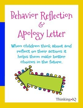 Behavior Reflection Think Sheet And Apology Letter  Behavior