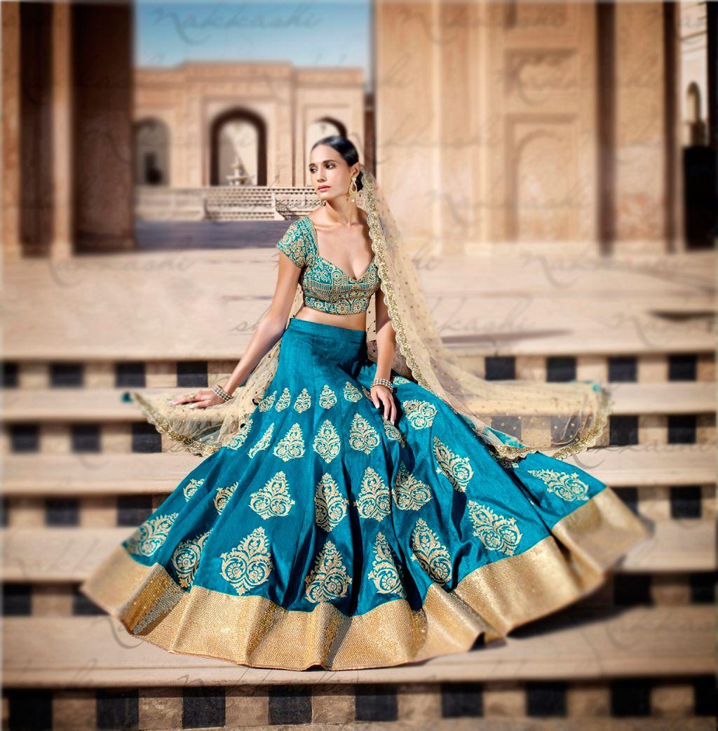 Blue Bhagalpuri Wedding Lehenga Choli 63021 | Wedding Lehenga Choli ...