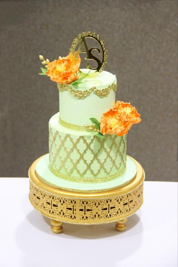 Mint and peach love! by Signature cake by Shweta