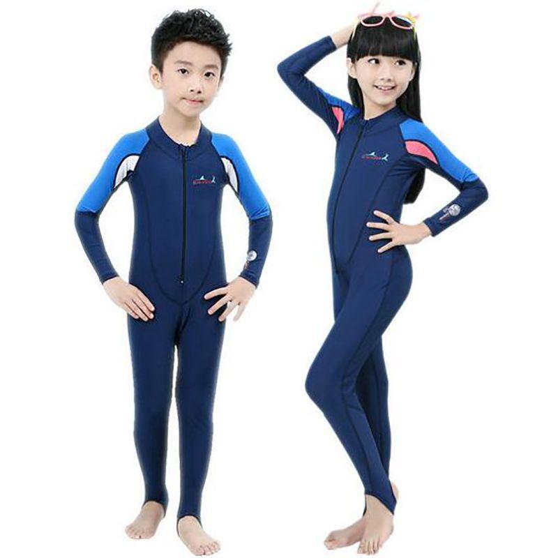 Kids Girls Long Sleeve Rash Guard Swimsuit Beachwear Surf Swimming Costume