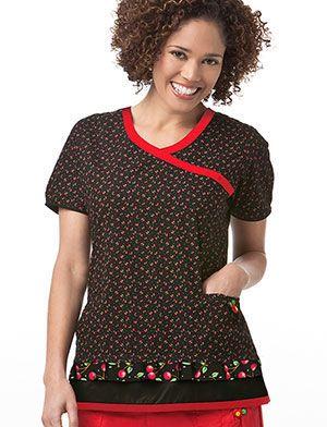 ba7c7602042 Tafford Uniforms - Mary Engelbreit Petite Cherries Print Scrub Top ...