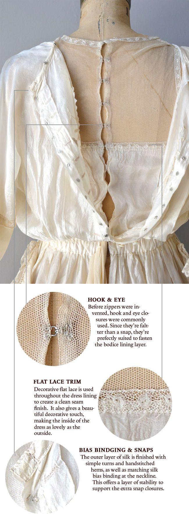 Via Coletterie - Edwardian silk dress construction details | Sewing ...