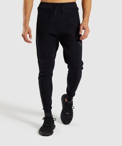 gymshark true knit joggers  black  black joggers