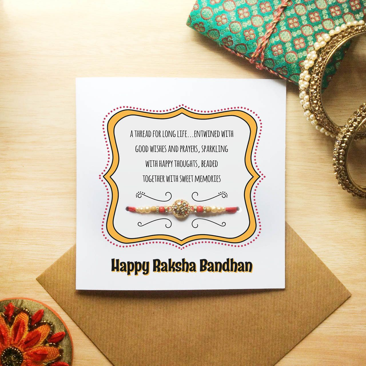 Happy Raksha Bandhan Card With Rakhi Circle Rakhi Design Card