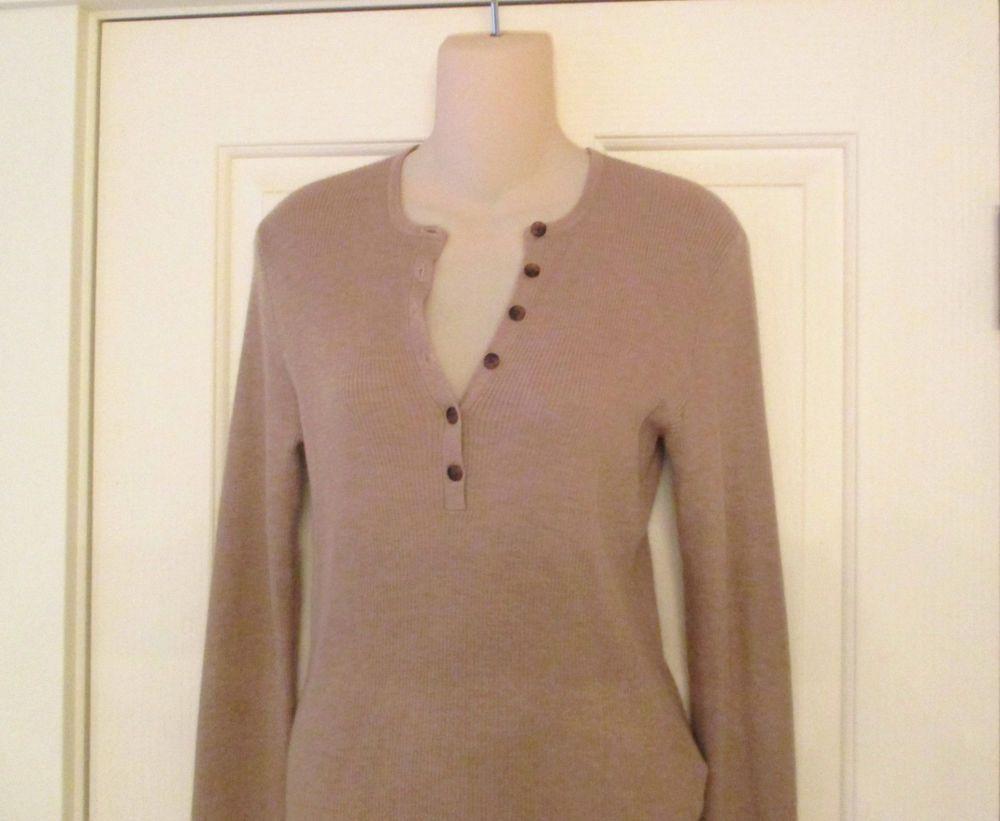 Ralph Lauren Black Label Beige Pullover Cashmere Silk Henley Sweater Sz L #RalphLaurenBlackLabel #Henley #Work