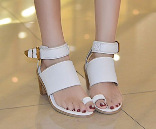 Fashion-Womens-Casual-Toe-Ring-Chunky-Pumps-Ankle-Strap-Roman-Heel-Sandals-Shoes