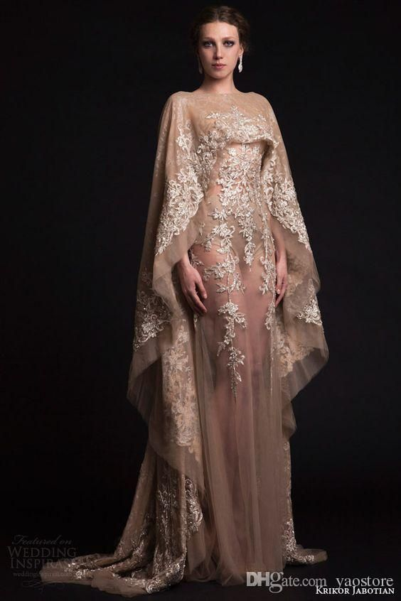 2017 Krikor Jabotian Prom Dresses with Cape High Neck Champagne Lace  Appliques Vintage Satin Long Party Dress Formal Evening Gowns 2016 Mermaid  Evening ... 9147c720815f