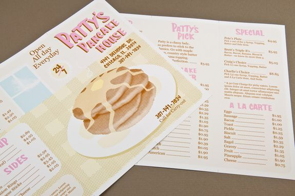 Illustrative Pancake House Menu Template - This retro-looking menu - a la carte menu template