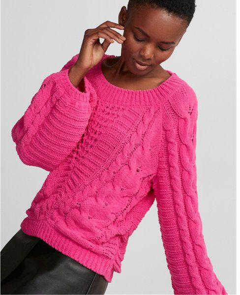 a5401b82f1c Loving this pink Express cable knit chenille boat neck balloon sleeve  sweater   it s less than  30!  sweaters  pink  winterwear  giftsforher   holiday2017   ...