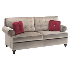 Button Tufted Sofa With Firm Cushion Seating And Exposed Wood Feet.  Includes Two Contrasting