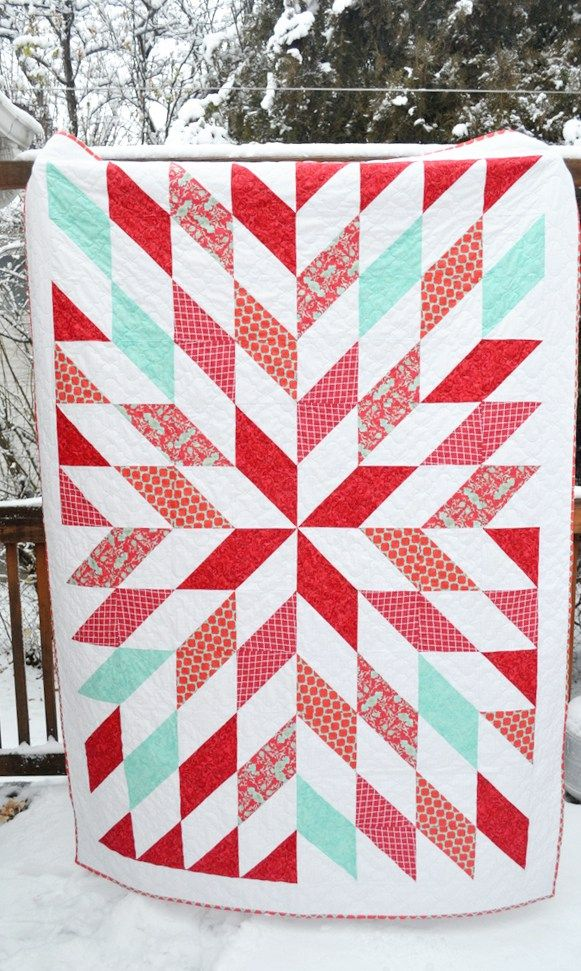 This quilt I made for my sweet mother-in-law. She recently remodeled her main areas of her home and is accenting with red and turquoise. I was on the fence whether or not I would be able to get thi…