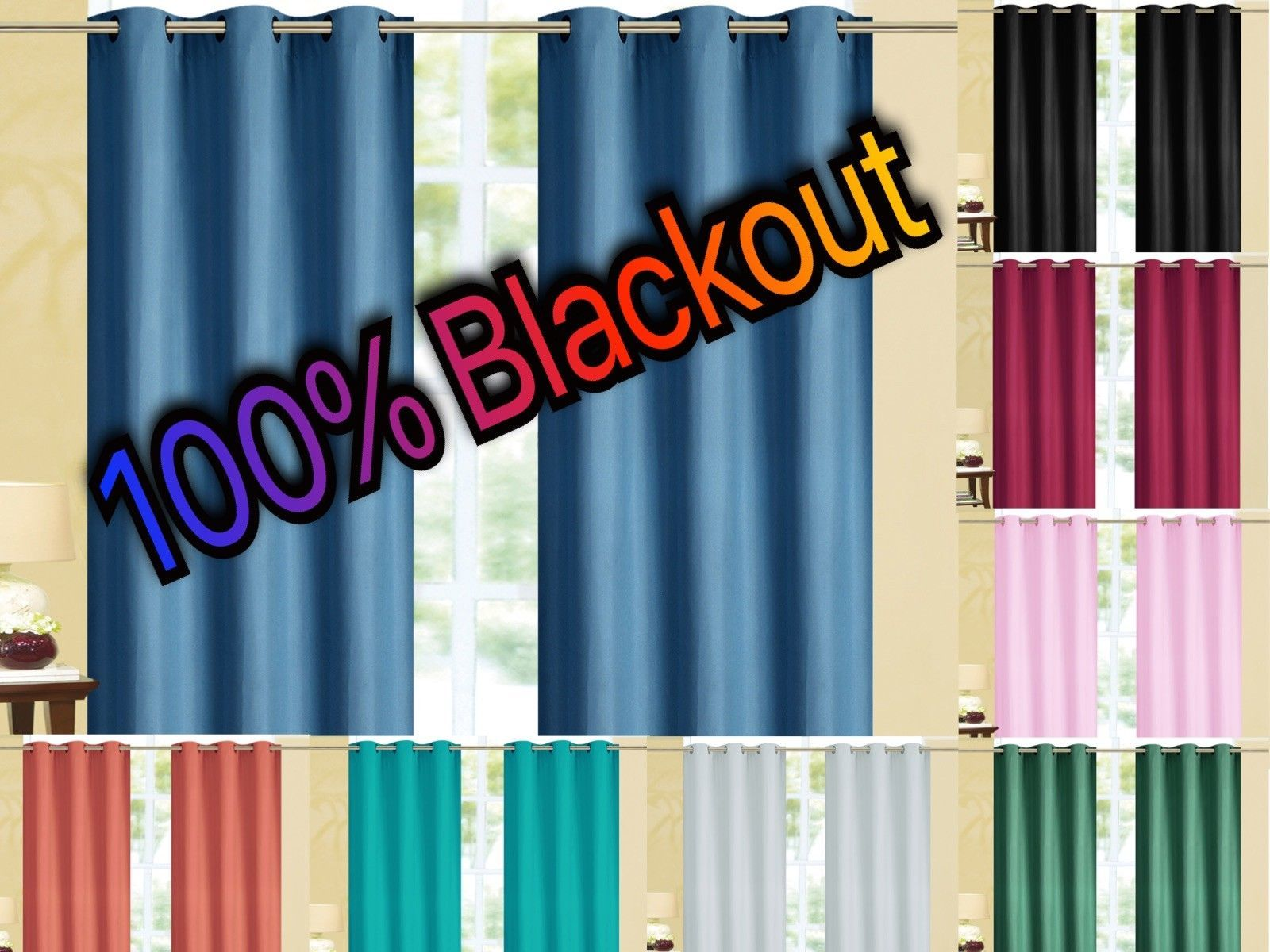 Kendal 100 Blackout Foam Back Window Curtain Set Two Panels All