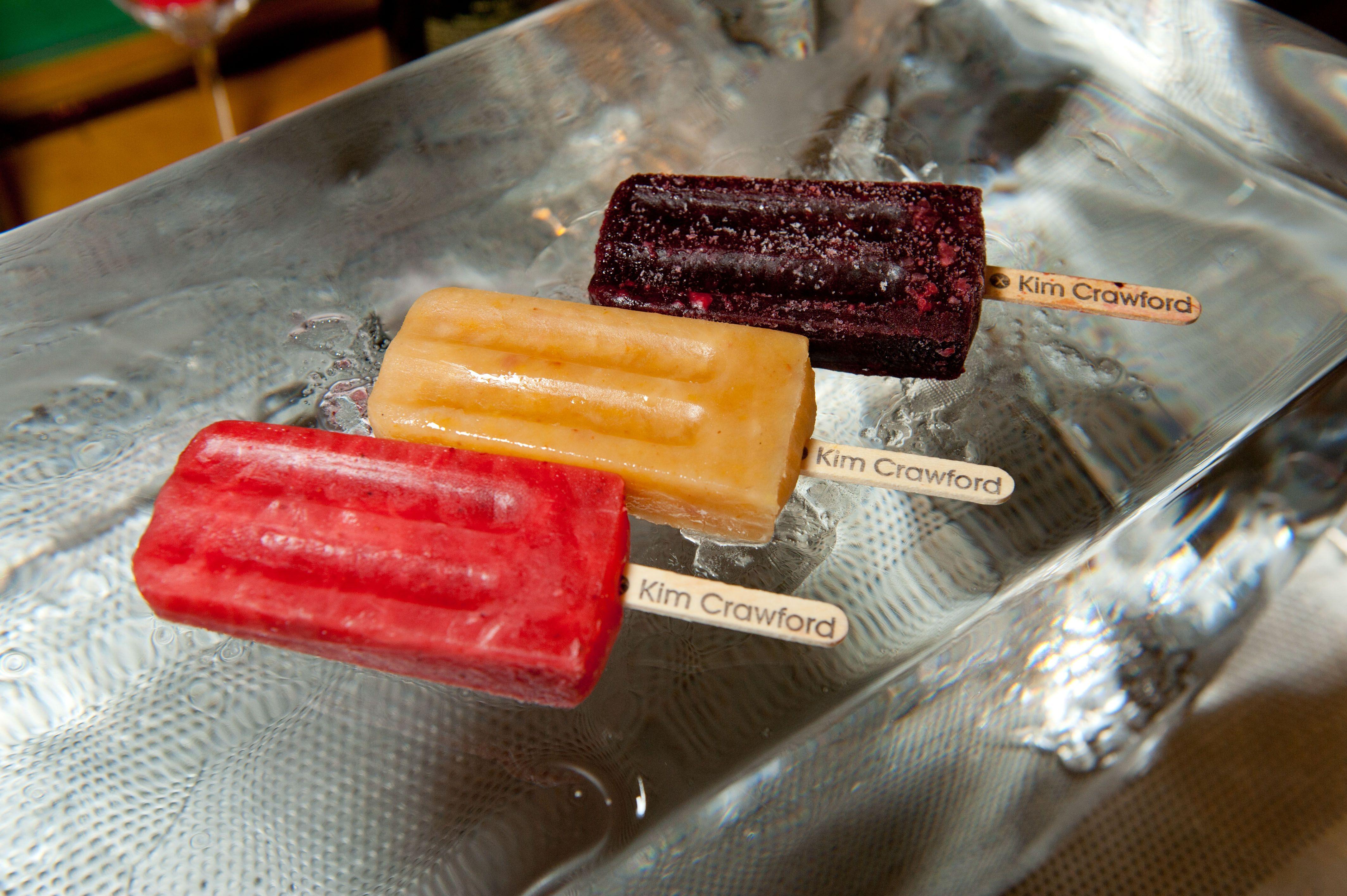oKim CrawfordSauvignonBlanc-Infused Strawberry Lemongrass Ice Pops