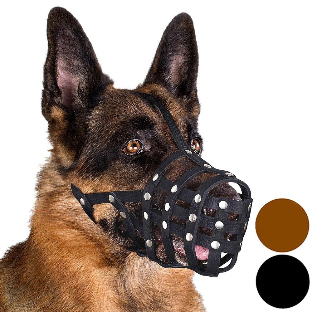 Dog Muzzle German Shepherd Leather Secure Basket Click