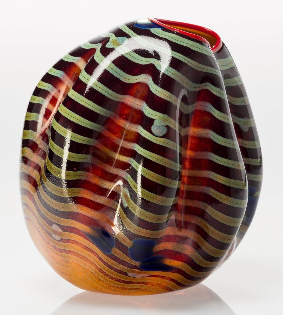 Dale chihuly american b 1941 cinnamon macchia basket with red art glass sculpture reviewsmspy