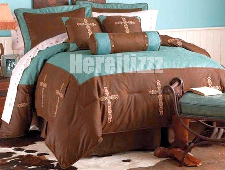 Turquoise Cross 7 Piece Western Bedding Set Queen