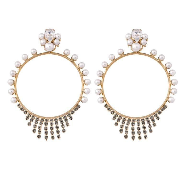 gold plated pearl hoop earrings Anton Heunis 1wG4C6MQzv