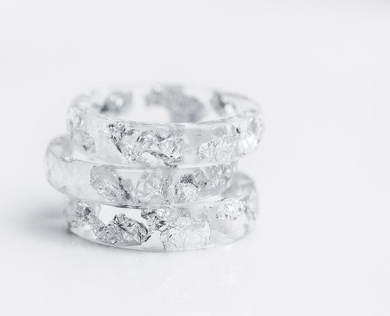Photo of Resin Stacking Ring Silver Flakes Icicle Small Faceted Ring OOAK transparent white minimalist jewelry