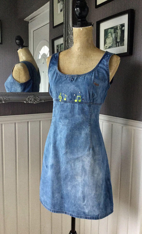 Denim Pinafore Shift Dress Guess Dress Vintage Denim Dress Vintage Denim Dress Denim Pinafore Denim Dress