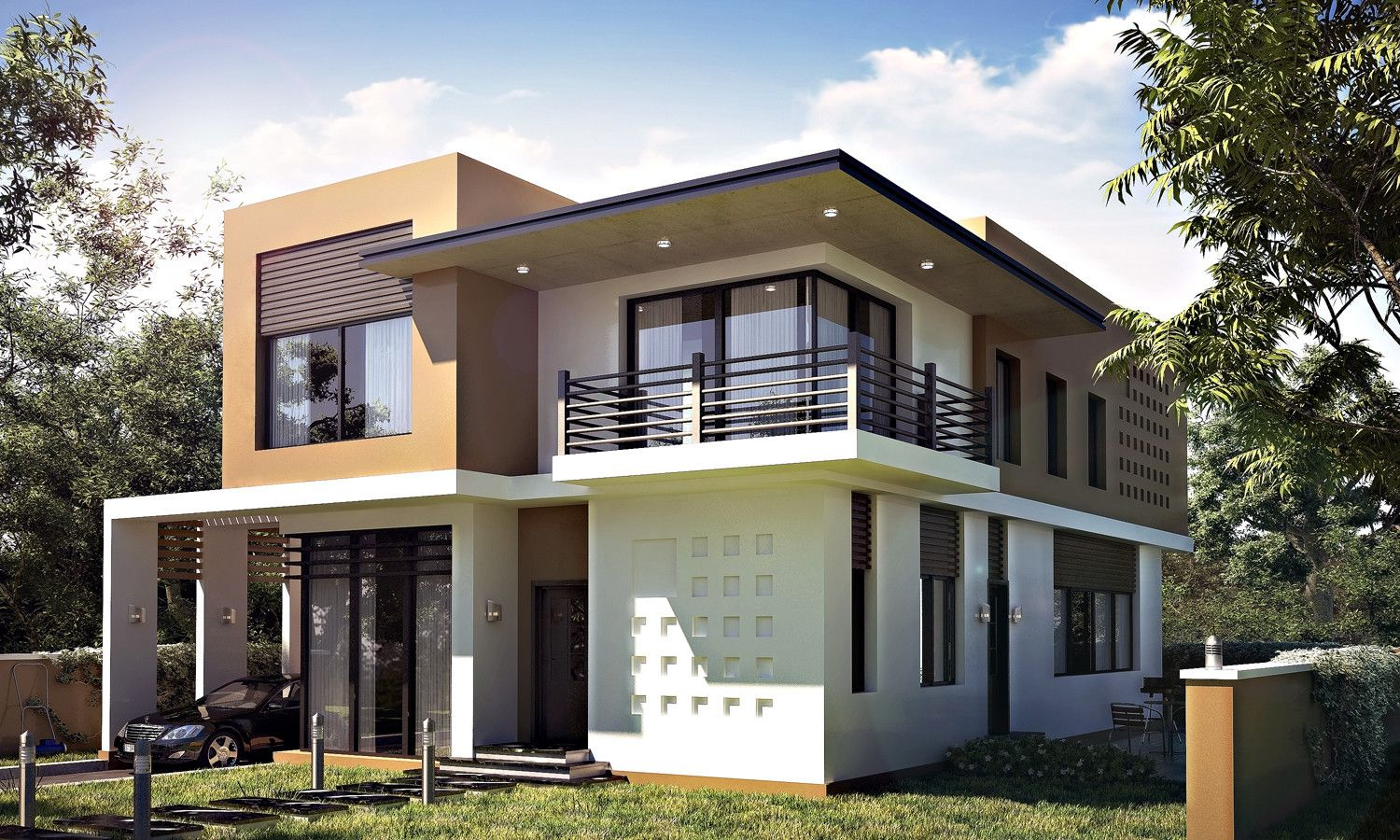 realistic modern villa 3d max House layout plans, House