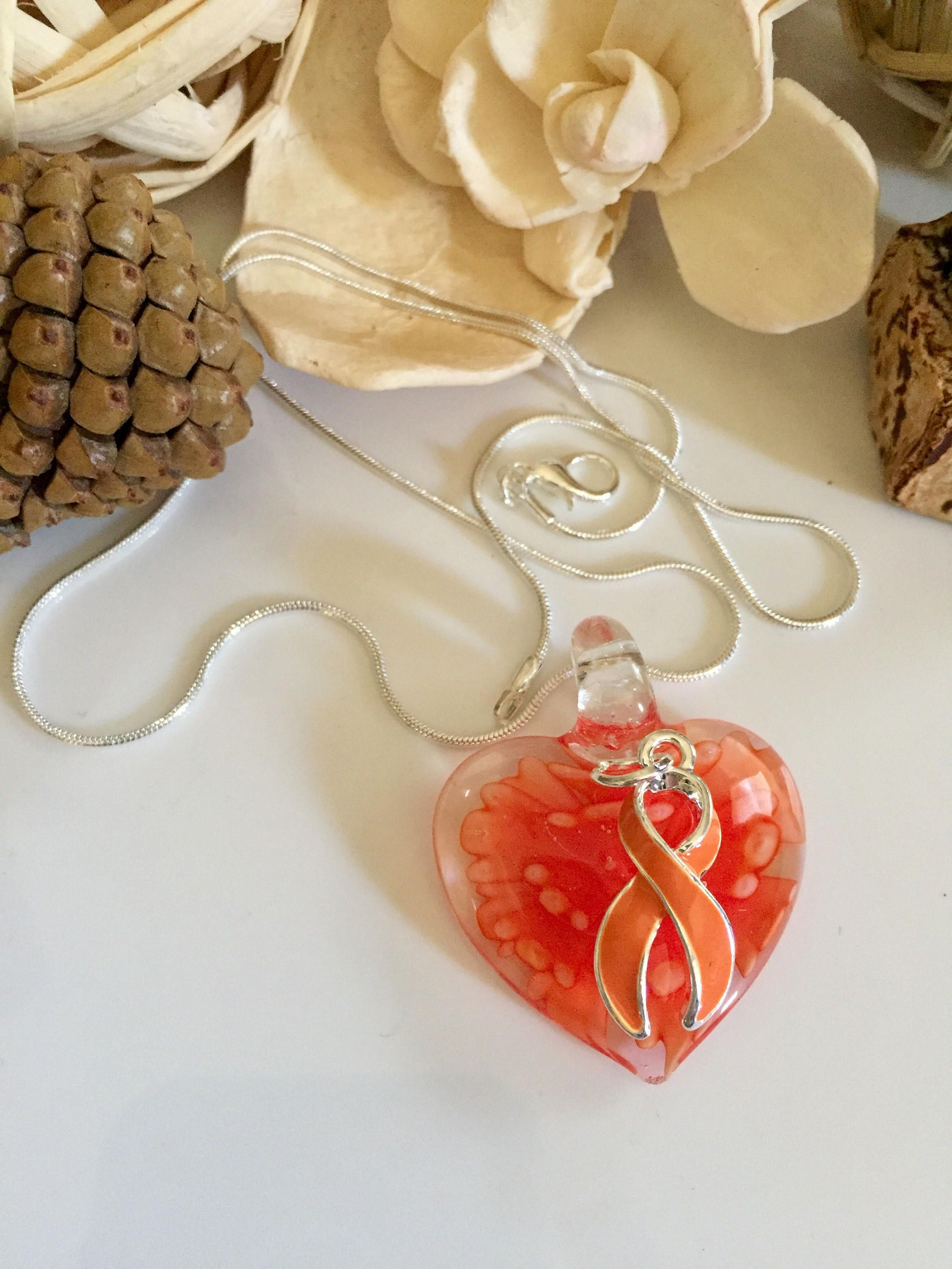 glass ribbon bracelet leukemia pin charm heart awareness orange necklace multiple sclerosis cancer kidney