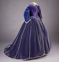 Mary Lincoln's purple velvet skirt and daytime bodice are believed to have been made by African American dressmaker Elizabeth Keckly. The first lady wore the gown during the Washington winter social season in 1861–62. Both pieces are piped with white satin, and the bodice is trimmed with mother-of pearl buttons. An evening bodice was included with the ensemble. The lace collar is of the period, but not original to the dress. After Abraham Lincoln's death, Mary went into mourning and remained…