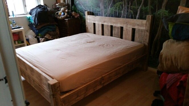 Rustic Bed Frame Made From Recycled Scaffold Boards And Fence