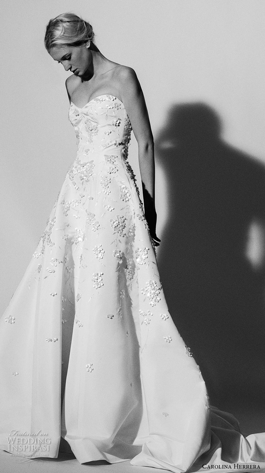 Red lace wedding dress october 2018 Carolina Herrera Bridal Spring  Wedding Dresses