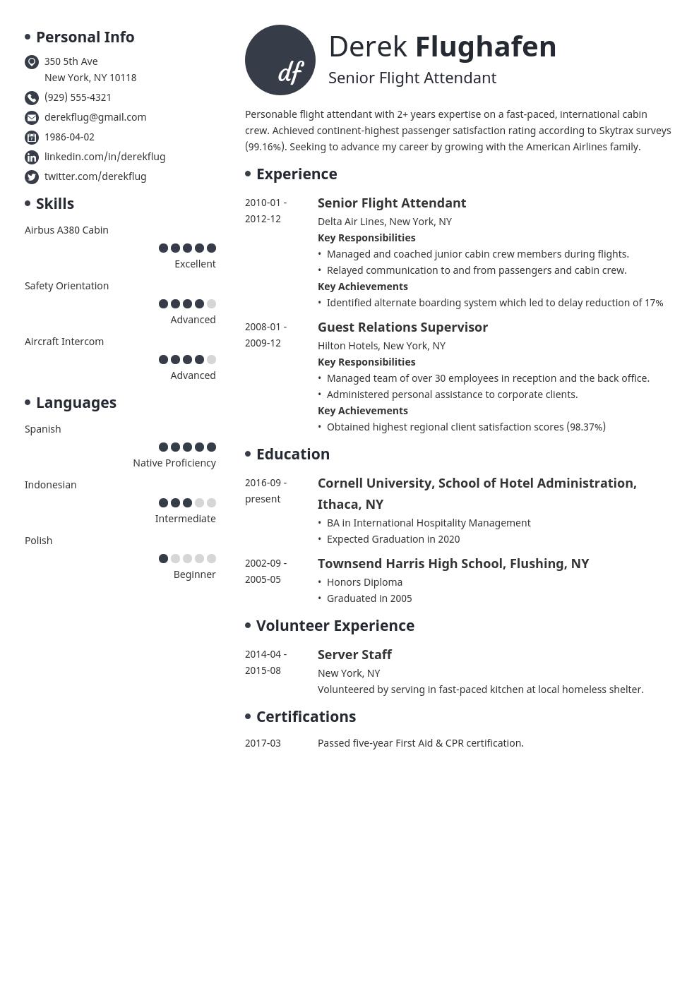 flight attendant resume example template initials in 2020