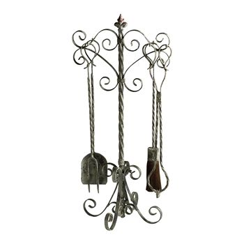 Distressed iron fireplace tool set Goes perfectly with my found