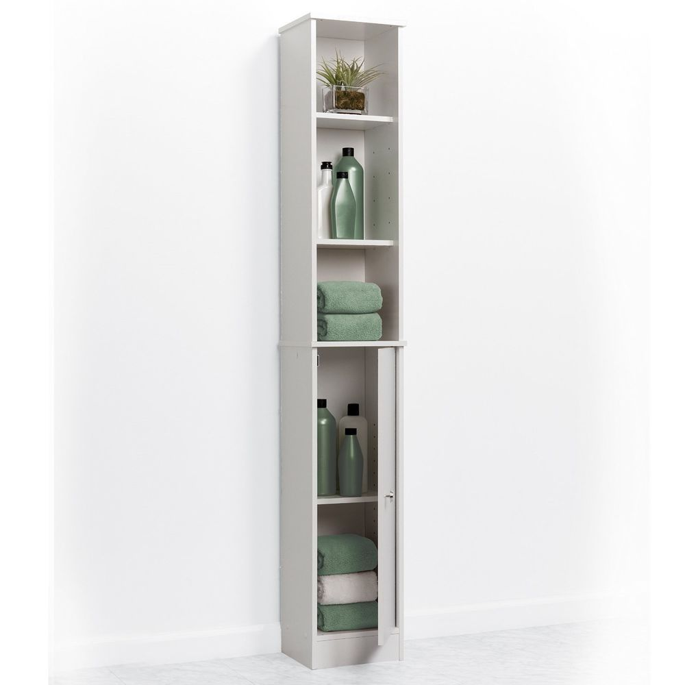 Bathroom Slim Storage Cabinet Space Saving Tall Organizer Shelves
