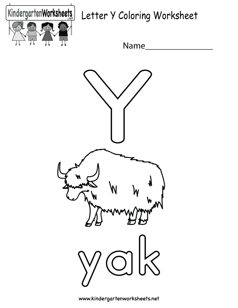This Is A Letter Y Coloring Worksheet For Preschoolers Or Kindergartene Alphabet Worksheets Kindergarten Kindergarten Worksheets Letter Worksheets Kindergarten