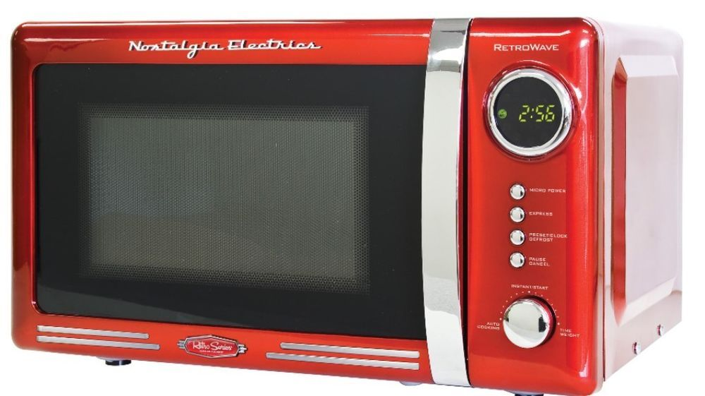 Digital Led Retro Series 0 7 Cubic Foot Red Microwave Oven Unique Touch Digital M Countertop Microwave Oven Nostalgia Electrics Retro Countertop Microwave