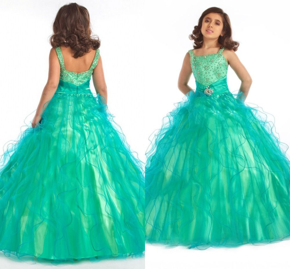 Girls Pageant Dresses Ball Gowns Straps Evening Gowns Kids Custom 2015 ...