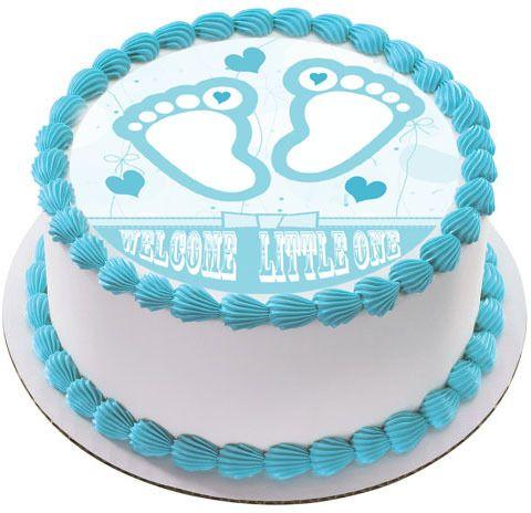 Blue Baby Feet Foot Edible Edible Birthday Cake Topper
