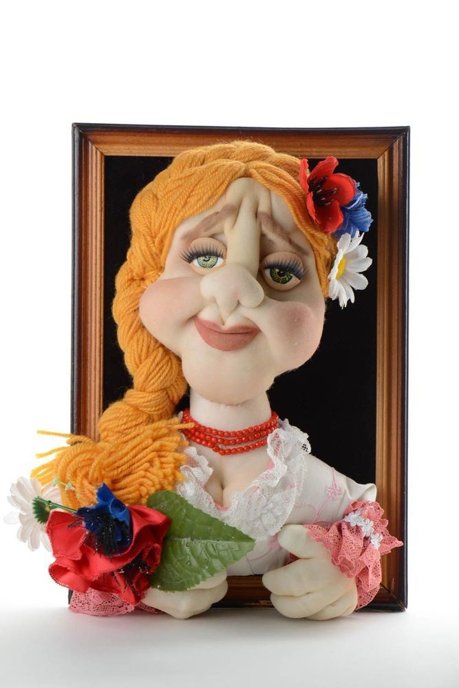 Volume Picture With Nylon Doll Soft Wall Panel Unusual Handmade Decorative Toy
