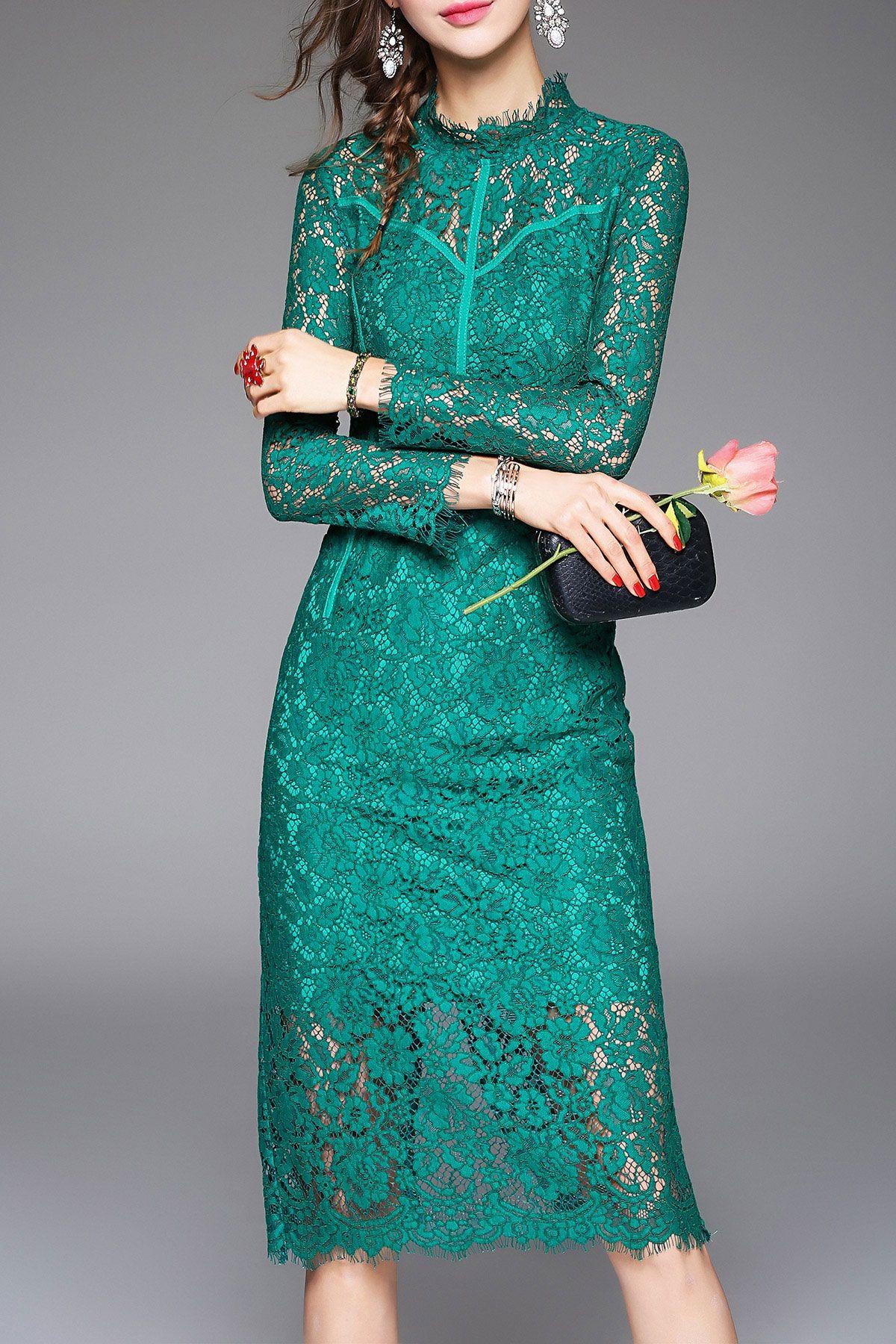 Acemiss green long sleeve lace midi dress midi dresses