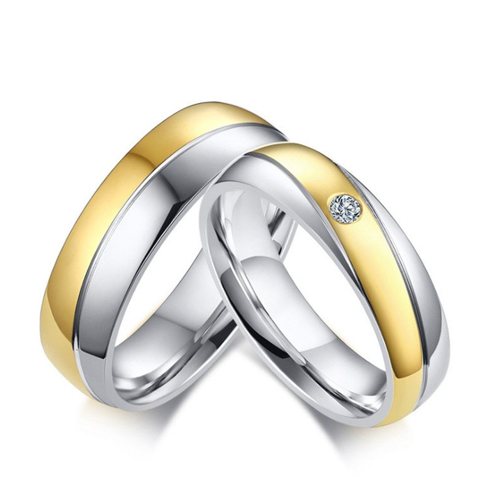 Stainless Steel Silvery And Golden Ring For Couples Simple And
