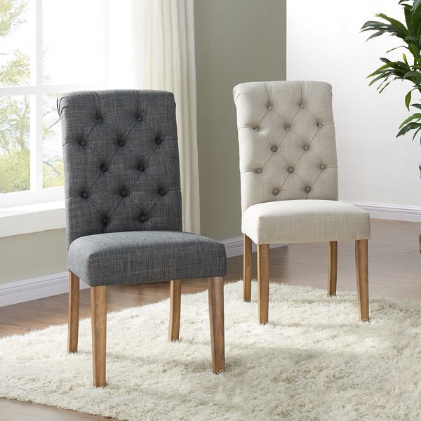 Melia Tufted Linen Side Chair Set Of 2  Online Shopping  Home Fascinating Side Chairs Dining Room Inspiration Design